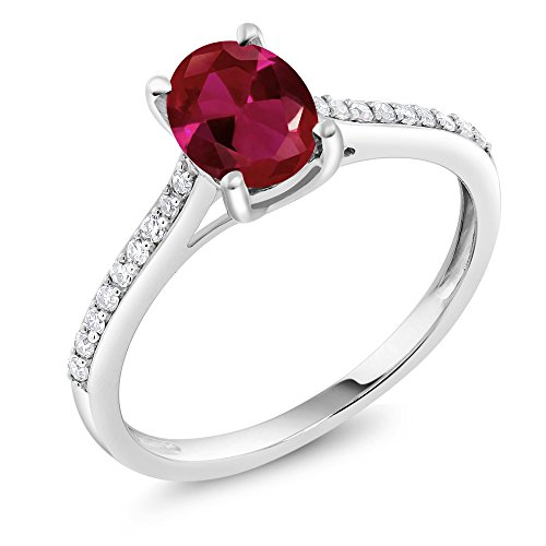 Gem Stone King 10K White Gold Pave Diamond Engagement Solitaire Ring set with 8x6mm Oval Red Created Ruby 1.25 ct (Size 7)