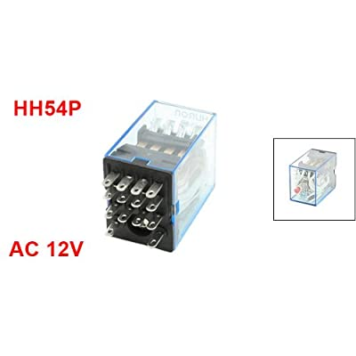 Uxcell 14-Pin 4PDT 4NO 4NC HH54P Red LED Light AC 12V Coil Power Relay: Home Improvement