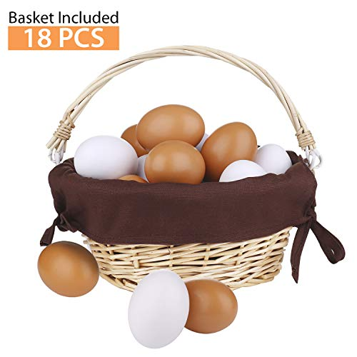 (Yoloho Easter Eggs Wooden Fake Eggs 18 Pcs - White and Brown Colors , Perfect for House, Restaurant, Hotel Decorations, DIY Painting Crafts, Children Play Kitchen Game Toy Food, 1 Pack Woven Rattan Basket Included)