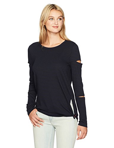 n: Philanthropy Women's Gloria Long Sleeve Striped Tee With Cut Outs, Black/Night Sky, L (T-shirt Sky Cut Womens)