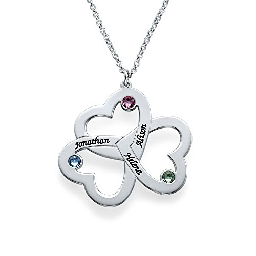 HACOOL 925 Sterling Silver Mom Necklace with Three Personalized Discs,Engraving in Three Names,Gift for Mom