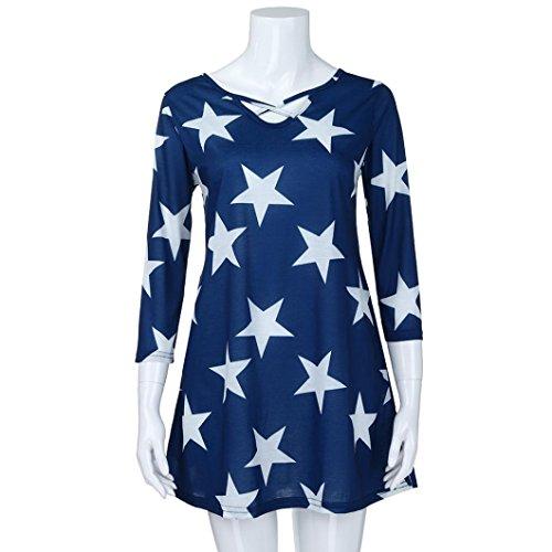 Flurries Women Dress, Fashion Women Ladies Three Quarter Sleeve Printing Casual Tops T-Shirt Loose Top Blouse (5XL, Blue) by Flurries