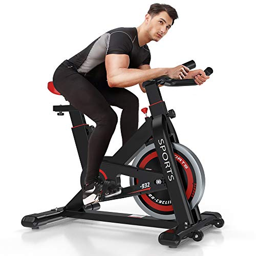 OUNUO Exercise Bikes (2020 New Version), Indoor Cycling Bike, Stationary, Bidirectional Flywheel, Silent Belt Drive, Infinite Resistance, LCD Displays, Handlebar, Pulse Sensor