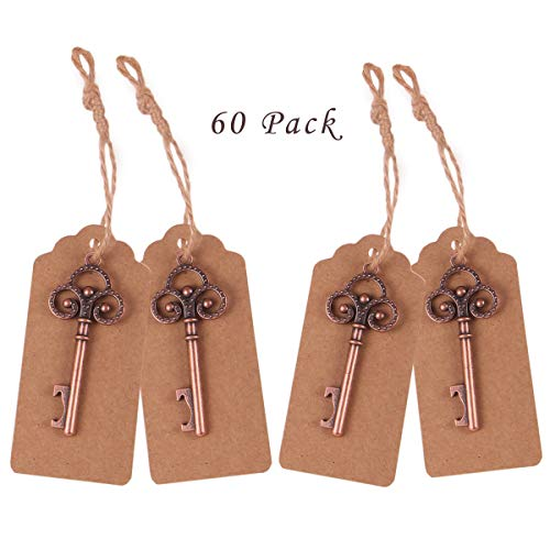 60 Pcs Party Favors Skeleton Key Bottle Opener with Escort Tag Card for Wedding Anniversary Party, Vintage Bottle Opener Rustic Decoration