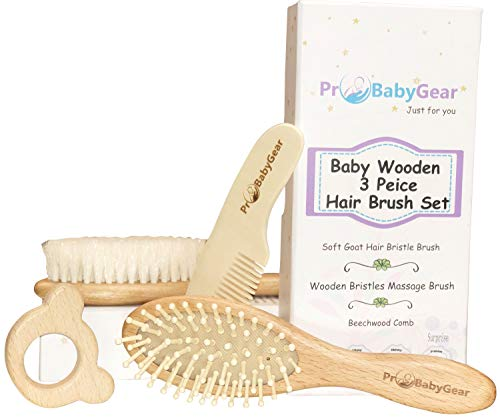 Free Grooming (4 Piece Baby Hair Brush Set for Newborn or Toddler  Free Natural Maple Wood Teether   Baby Grooming kit   Help Prevent Cradle Cap)