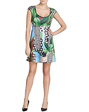 Womens Graphic Sleeveless Cocktail Dress