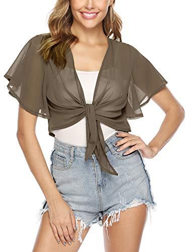 - iClosam Women Tie Front Chiffon Shrug Short Sleeve Cropped Sheer Bolero Shrug Cardigan (Brown, Medium)