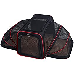Pet Travel Carrier Crate 19-Inch (48 cm) Pet Travel Bag Foldable Oxford Cloth Portable Comfort Pet Bag Lightweight Fabric Pet for Dogs Cat Crate , L , 1