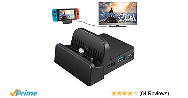 UKor Switch TV Dock, Portable Charging Stand for Nintendo Switch,Compact  Switch to HDMI Adapter,Mini Switch Docking Station with Extra USB 3 0 Port,