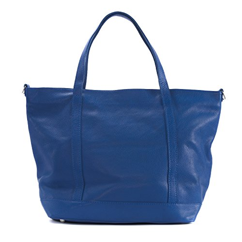 OH MY BAG Sac à Main cabas cuir femme - Modèle Irupu Bleu Roi