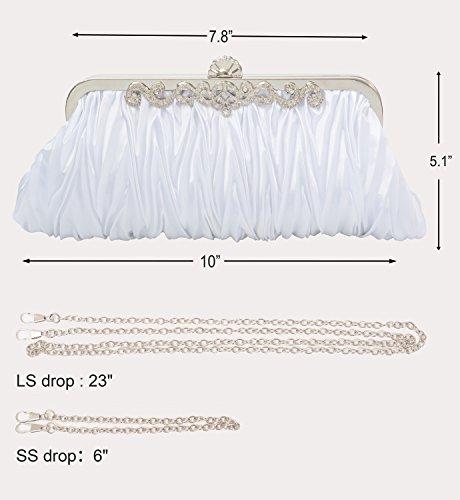 Pure with Purse White Decoration Satin Pulama Vintage Clutch Elegant Envelope Wallet n6qH7