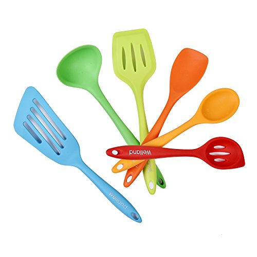 WELLAND 6-Piece Silicone Cooking Set - 2 Spoons, 2 Turners, 1 Spoonula / Spatula & 1 Ladle - Heat Resistant Kitchen Utensils, Multicolor