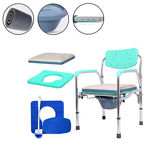 GxYue Bedside Commodes Foldable Aluminum Alloy Bedside Commode with Bucket - Multifunction Toilet Commode Chair for Elderly and Disabled