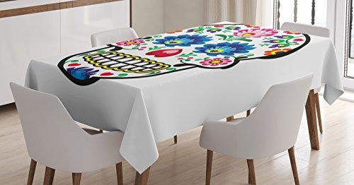 (Ambesonne Sugar Skull Decor Tablecloth, Polish Folk Art Style Mexican Sugar Skull Design Carnival Theme, Dining Room Kitchen Rectangular Table Cover, 52 W X 70 L Inches, Blue Black)