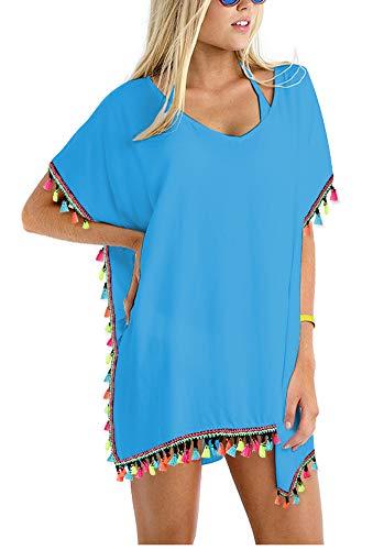 (GDKEY Women Chiffon Tassel Swimsuit Bikini Stylish Beach Cover up (S-M, CB_Blue38))