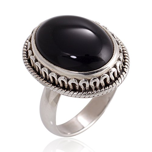 (Chuvora 925 Oxidized Sterling Silver Natural Black Onyx Gemstone Oval Rope Edge Vintage Band Ring Size)