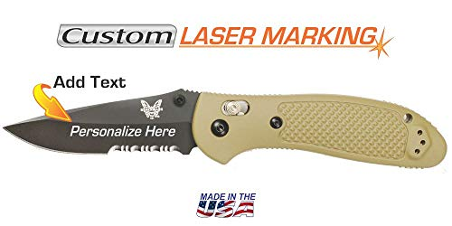 Custom Laser Engraved Benchmade Griptilian Knife - Black Serrated Blade with Sand Handle ()