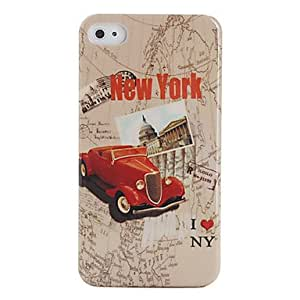 JJEProtective Polycarbonate Case for iPhone 4 and 4S (Red Car Pattern)