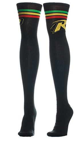 538bbb934f0 Image Unavailable. Image not available for. Colour  Dc Comics Batman Robin  Logo Knee High Womens Socks