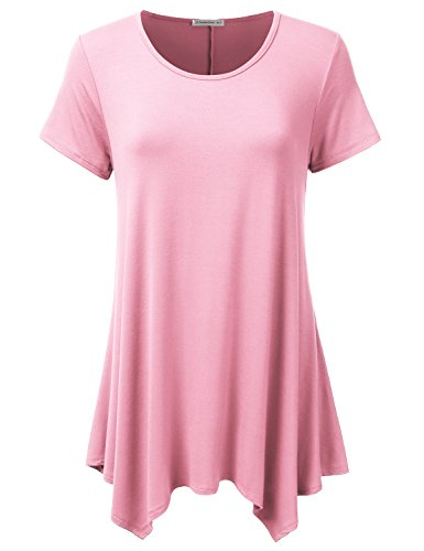 JJ Perfection Womens Swing Tunic Tops Loose Fit Basic Flattering T Shirt Pink (Pink Scoop Neck Top)
