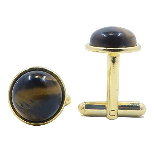 SatinCrystals Tigers Eye Golden Cufflinks 12mm Boutique Iridescent Brown Gemstone Polished Circle Metal B01 (Gold-Plated-Brass) ()