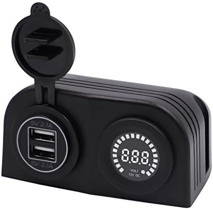 B Baosity USB電源ソケット デジタル電圧計 防水 防塵カバー付き 12V電圧計 - 青
