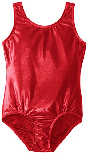 Danskin Big Girls' Gymnastics Solid Sparkle Leotard,Red,Medium (8/10)