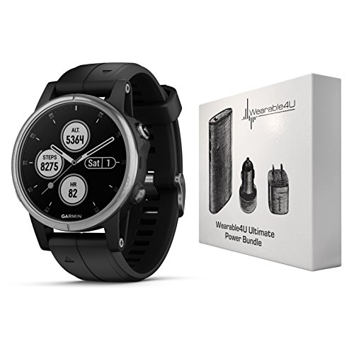 Garmin Fenix 5S Plus Premium Multisport GPS Watch with Maps, Music and Contactless Payments and Wearable4U Ultimate Power Pack Bundle (Silver with Black Band)