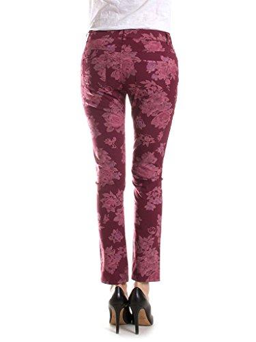 Adamascado Cintura Mujer 486 Tejido Gabardina Baja Burdeos Motivo Estilo Capri Jeans Ajustado Para Pantalón 765 Carrera p7W86gBw
