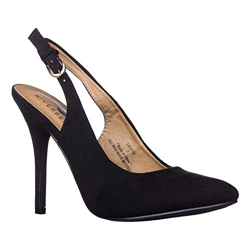 - Riverberry Women's Lucy Pointed-Toe, Sling Back Pump Stiletto Heels, Black Suede, 8