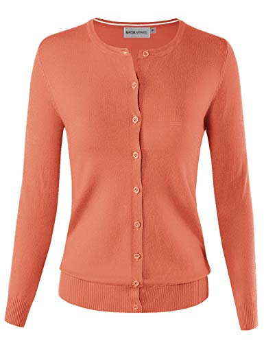 MAYSIX APPAREL Women's Knit Long Sleeve Lightweight Button Down Round Neck Sweater Cardigan ORANGE 1XL