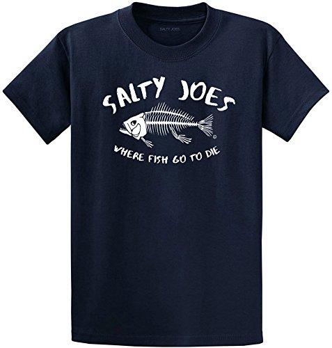 Salty Joe's Where Fish Go to Die Heavyweight Cotton T-Shirt-Navy/w-5XL
