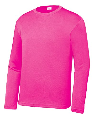 Opna Youth Athletic Performance Long Sleeve Shirts for Boy's or Girl's - Moisture Wicking Neon Pink