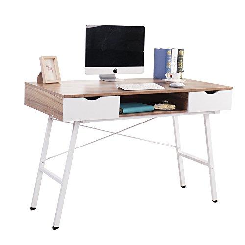 Soges 47'' Computer Desk Office Desk with Drawers Workstation Desk Writing Desk Modern Desk, Oak CS-878-120OK by soges