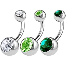 3PCS Surgical Steel Navel Belly Ring Button Ear Stud 14 Gauge 5mm 8mm Crystal Ball Earrings Piercing Jewelry Choose Sizes