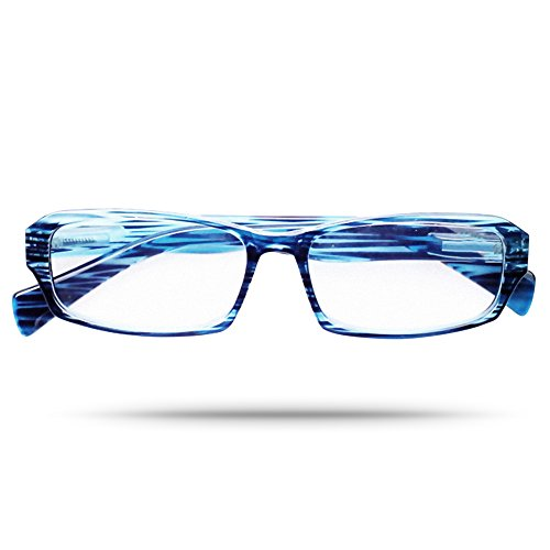 Premier Anti-fatigue Rectangular Frame Designer Reading Eyeglasses in Aquamarine Woodprint - Mall Stores In Dartmouth