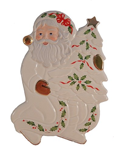 Lenox Holiday Figurals - Lenox China Holiday Accent Plate Trivet Figural Santa St. Nick W/ Christmas Tree