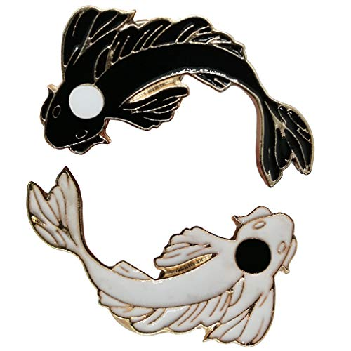 (Charmart Fish Lapel Pins 2 Pieces Set Cartoon Goldfish Carp Koi Enamel Brooch Pin Tai Chi Badges Black White Color)