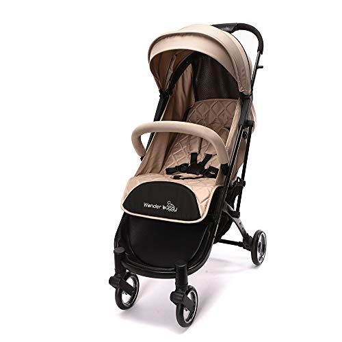 Wonder buggy Lightweight Compact Baby Stroller, One Hand Fold with 5-Point Safety System (Beige)