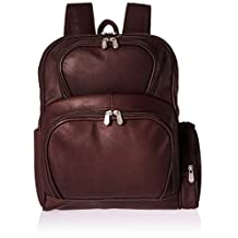 Piel Leather Half-Moon Laptop Backpack, Chocolate, One Size
