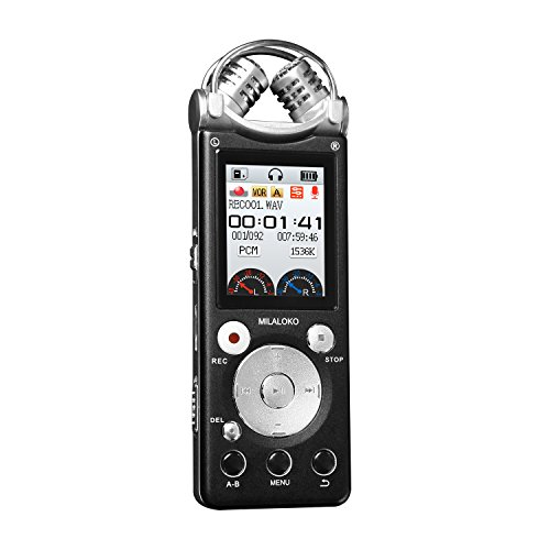 Professional Voice Recorder MILALOKO Double Mic HD Voice Activated Wireless Recording 8GB Noise Cancelling Metal Casing Digital Audio Dictaphone PCM Recording Device