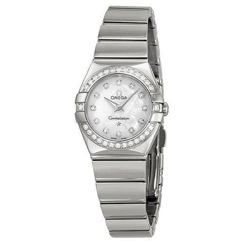 Omega Constellation de la madre de la perla de diamante Dial de acero inoxidable reloj de