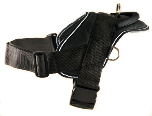 Dean and Tyler DT Dog Harness, Black With Reflective Trim, Large – Fits Girth Size: 32-Inch to 42-Inch, My Pet Supplies