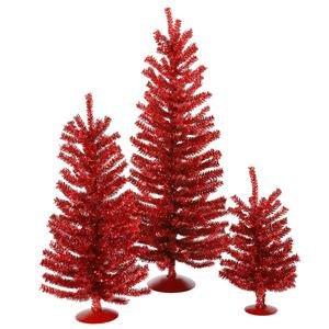 Vickerman 12'', 18'' and 24'' Unlit Red Mini Tree Set by Vickerman