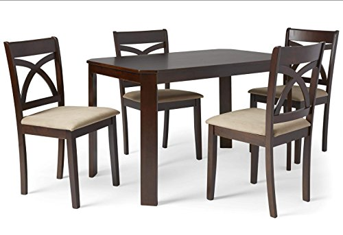 Cavendish 5 Piece Dining Set Includes Dining Table and 4 Upholstered Chairs (Espresso) (Breakfast Furniture Ideas Room)