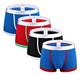 Femaroly Men's Organic Cotton Underwear Stretch Boxer Briefs Beyond Soft (Pack of 4) Blue_Red/Black/Red_Green/Blue US S-Tag L Waist:29''-33''