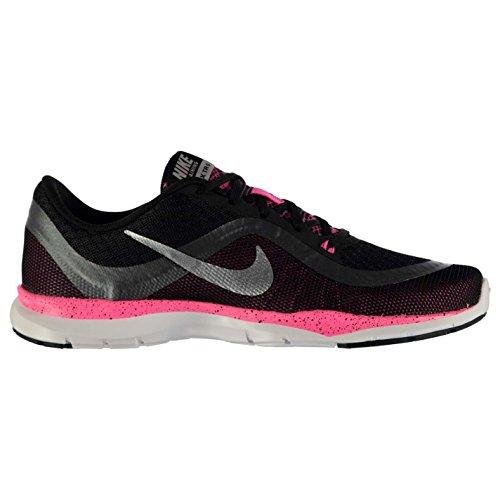 NIKE Flex Trainer 6Formation Chaussures pour Femme Noir/Argent/Rose Baskets Sneakers