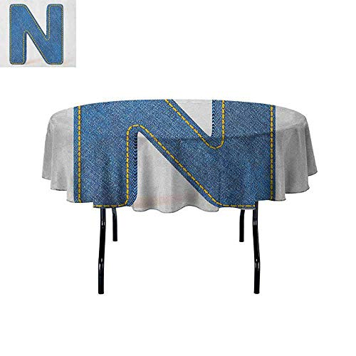 DouglasHill Letter N Washable Tablecloth N Uppercase Letter with Denim Alphabet Font Design Blue Jean Writing System Retro Dinner Picnic Home Decor D70 Inch Blue Yellow