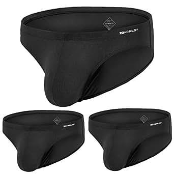 """ZONBAILON Mens Bulge Pouch Underwear Briefs Bamboo Sexy Underwear for Men Pouch Briefs - Black - 2XL/Waist 44""""-46"""""""