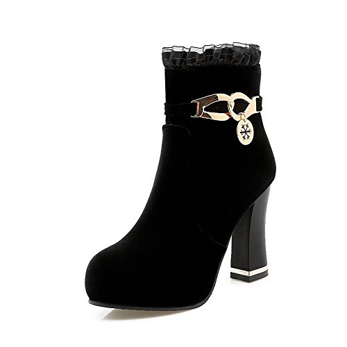 Solid Zipper Heels Boots Suede High Imitated Women's top Low Black Allhqfashion f6AXTx
